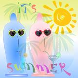 夏时动画片海报 向量例证