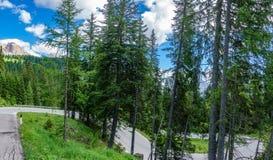 夏时在有弯曲的路的白云岩阿尔卑斯 免版税库存图片