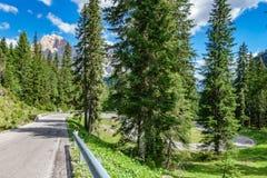 夏时在有路的白云岩阿尔卑斯 库存照片