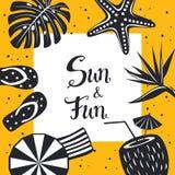 夏时海滩旅行框架卡片与黑白装饰的背景模板,触发器,伞,椰子饮料,鸟 免版税库存照片