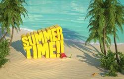 夏时热带海滩顶视图 免版税库存图片