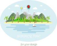 夏时,灰色和绿色山风景 免版税库存图片