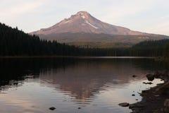 夏时Trillium湖树带界线胡德山喀斯喀特山脉俄勒冈 免版税图库摄影
