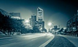 夏洛特11月2017年, nc,美国-清早在城市o 库存图片