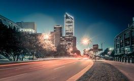 夏洛特11月2017年, nc,美国-清早在城市o 免版税图库摄影