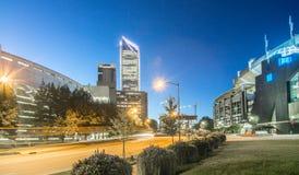 夏洛特11月2017年, nc,美国-清早在城市o 免版税库存图片