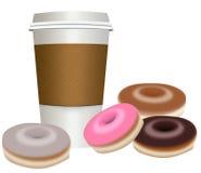 外卖,去有油炸圈饼的咖啡杯 皇族释放例证