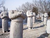 外国大使石雕象没有头的沿迁陵陵墓,羡,中国精神方式  免版税库存照片