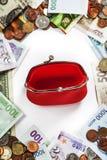 外国硬币和钞票框架 图库摄影
