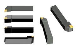 外在加工的车床刀具 与螺丝的车床toolholder 库存图片