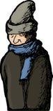 外套和帽子的被隔绝的人 库存例证