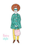 外套和长裤的典雅的时髦的女人 减速火箭的样式 库存照片