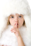 外套毛皮女孩帽子一点佩带的白色 库存图片