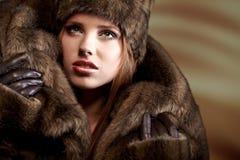 外套毛皮妇女 库存照片