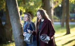 外套的两个美丽的女孩在晴朗的天气的秋天公园走 免版税库存照片