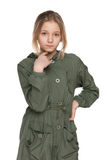外套的时尚青春期前的女孩 库存照片