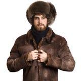 外套的有胡子的人 免版税库存照片