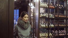 外套的编目的Photoshoot 在外套的一个模型为摄影师摆在 股票视频
