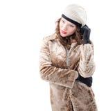 外套的美丽的少妇 免版税图库摄影