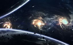 外层空间秀丽、行星、星和星系在不尽的宇宙 美国航空航天局装备的这个图象的元素 免版税库存照片
