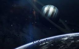 外层空间秀丽、行星、星和星系在不尽的宇宙 美国航空航天局装备的这个图象的元素 库存照片