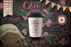外带的咖啡广告 皇族释放例证