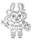 外形图有刷子的一位逗人喜爱的兔子女孩艺术家和调色板绘在被隔绝的白色背景的漫画人物 免版税库存照片