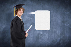 外形观点的综合图象的毕业生长袍的一名学生 库存照片