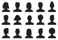 外形象剪影 匿名人民面对剪影、妇女和人顶头具体化象 闲谈男性或女性图象 皇族释放例证