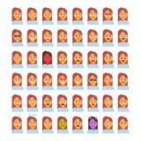 外形象女性另外情感集合具体化,妇女动画片画象面孔汇集 向量例证