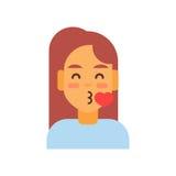 外形象女性情感具体化,妇女动画片画象愉快的微笑的面孔吹的亲吻 向量例证