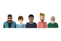 外形象男性和女性具体化,妇女人动画片画象,混合种族人剪影面孔 库存例证