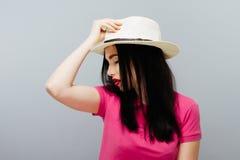 外形画象Wearing Hat Concept夫人 免版税库存图片