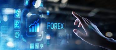 外汇贸易货币交换股票市场投资在虚屏上的企业概念 免版税库存照片