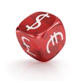 外汇 在红色的货币切成小方块 免版税库存图片