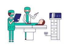 外科关心 做操作的外科医生对说谎的患者在床和护士帮助他 胳膊关心健康查出滞后 隔绝在白色backgr 向量例证