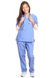 外科医生医生-有听诊器微笑的女性 图库摄影