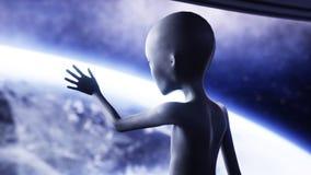 外籍人在未来派屋子里 提供援助与地球行星的手 飞碟未来派概念 3d翻译 库存例证