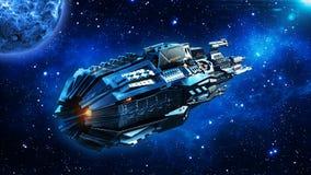 外籍人母舰,在外层空间,飞碟航天器飞行在宇宙与行星和星,背面图, 3D的太空飞船回报 免版税库存照片