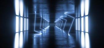 外籍人科学幻想小说现代未来派霓虹萤光虚拟现实三角塑造了在空的演播室黑暗的蓝色充满活力的光 库存例证