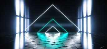 外籍人科学幻想小说现代未来派霓虹萤光虚拟现实三角塑造了在空的演播室黑暗的青绿的充满活力的光 皇族释放例证