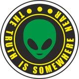 外籍人绿色例证飞碟reen地球传染媒介侵略的滑稽的漫画字符船科学幻想小说飞行幻觉火星的空间 图库摄影