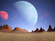外籍人行星,落寞沙漠背景 向量例证