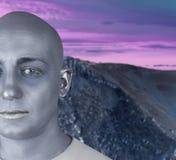外籍地球外的未来派人银皮肤 图库摄影