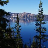 外缘和湖通过树 库存图片