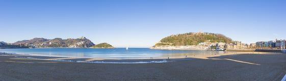 外耳海滩视图,圣塞瓦斯蒂安 免版税库存照片