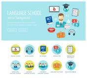 外语学习网站和登陆的页的网络设计概念 外语学校和路线 万维网横幅 平的d 库存照片