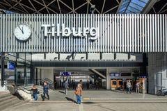 外部中央火车站提耳堡大学,荷兰 免版税库存图片