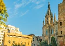 外部的巴塞罗那主教座堂,哥特式区,西班牙 库存照片