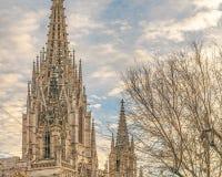 外部的巴塞罗那主教座堂,哥特式区,西班牙 免版税库存照片